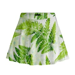 Fern Leaves Mini Flare Skirt by DanaeStudio