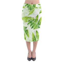 Fern Leaves Midi Pencil Skirt by DanaeStudio