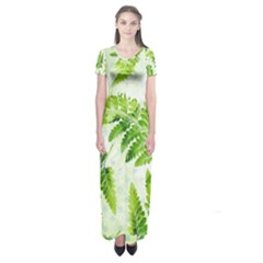 Fern Leaves Short Sleeve Maxi Dress by DanaeStudio