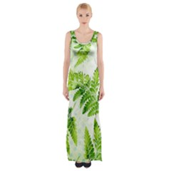 Fern Leaves Maxi Thigh Split Dress by DanaeStudio