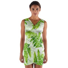 Fern Leaves Wrap Front Bodycon Dress by DanaeStudio