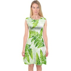 Fern Leaves Capsleeve Midi Dress by DanaeStudio