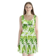 Fern Leaves Split Back Mini Dress  by DanaeStudio