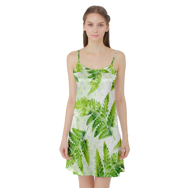 Fern Leaves Satin Night Slip