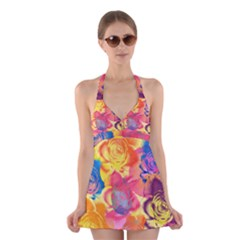 Pop Art Roses Halter Swimsuit Dress