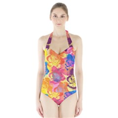 Pop Art Roses Halter Swimsuit