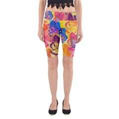 Pop Art Roses Yoga Cropped Leggings
