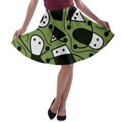 Playful Abstract Art   Green A Line Skater Skirt by Valentinaart