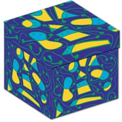 Playful Abstract Art   Blue And Yellow Storage Stool 12   by Valentinaart