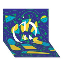 Playful Abstract Art   Blue And Yellow Peace Sign 3d Greeting Card (7x5) by Valentinaart