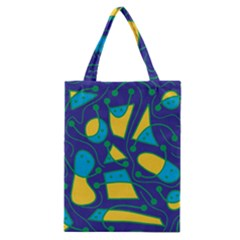 Playful Abstract Art   Blue And Yellow Classic Tote Bag by Valentinaart