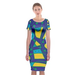 Playful Abstract Art - Blue And Yellow Classic Short Sleeve Midi Dress by Valentinaart