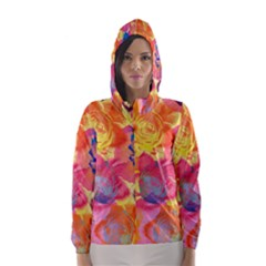 Pop Art Roses Hooded Wind Breaker (Women)