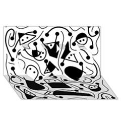 Playful Abstract Art   White And Black Twin Hearts 3d Greeting Card (8x4)