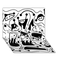 Playful Abstract Art   White And Black You Are Invited 3d Greeting Card (7x5)