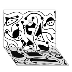 Playful Abstract Art   White And Black Ribbon 3d Greeting Card (7x5) by Valentinaart