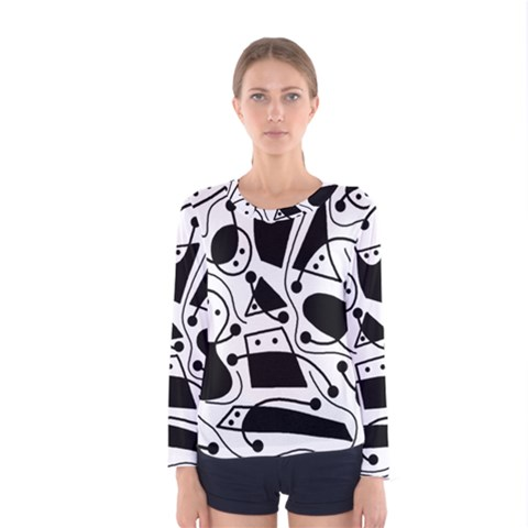 Playful Abstract Art - White And Black Women s Long Sleeve Tee by Valentinaart