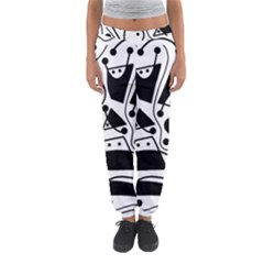 Playful Abstract Art - White And Black Women s Jogger Sweatpants by Valentinaart