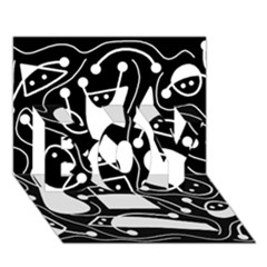 Playful Abstract Art   Black And White Boy 3d Greeting Card (7x5) by Valentinaart