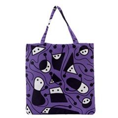 Playful Abstract Art   Purple Grocery Tote Bag by Valentinaart