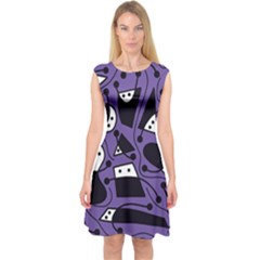 Playful Abstract Art - Purple Capsleeve Midi Dress by Valentinaart