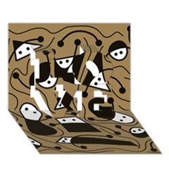 Playful Abstract Art   Brown Love 3d Greeting Card (7x5)