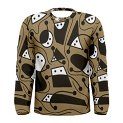 Playful Abstract Art   Brown Men s Long Sleeve Tee by Valentinaart
