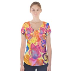 Pop Art Roses Short Sleeve Front Detail Top