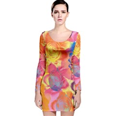 Pop Art Roses Long Sleeve Velvet Bodycon Dress