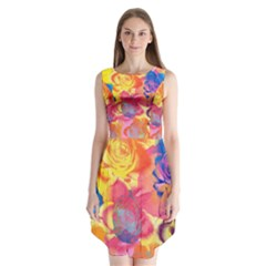 Pop Art Roses Sleeveless Chiffon Dress