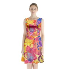 Pop Art Roses Sleeveless Chiffon Waist Tie Dress