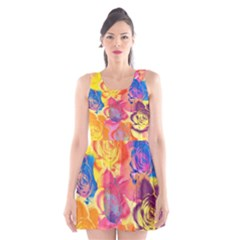 Pop Art Roses Scoop Neck Skater Dress