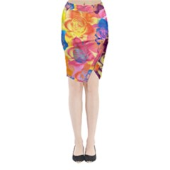 Pop Art Roses Midi Wrap Pencil Skirt