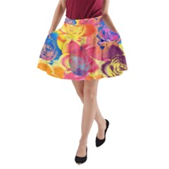 Pop Art Roses A-Line Pocket Skirt