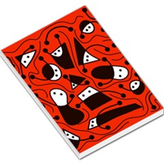 Playful Abstract Art   Red Large Memo Pads by Valentinaart