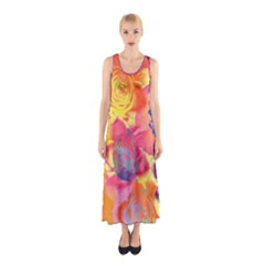 Pop Art Roses Sleeveless Maxi Dress