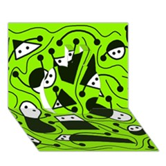 Playful Abstract Art   Green Apple 3d Greeting Card (7x5)