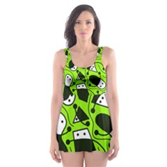 Playful Abstract Art   Green Skater Dress Swimsuit by Valentinaart