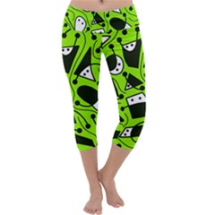 Playful Abstract Art   Green Capri Yoga Leggings by Valentinaart