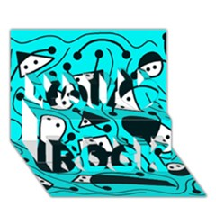 Playful Abstract Art   Cyan You Rock 3d Greeting Card (7x5) by Valentinaart