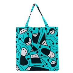 Playful Abstract Art   Cyan Grocery Tote Bag by Valentinaart