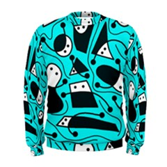 Playful Abstract Art   Cyan Men s Sweatshirt by Valentinaart