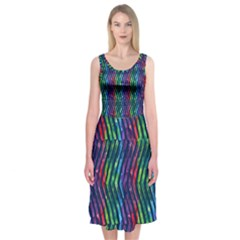 Colorful Lines Midi Sleeveless Dress by DanaeStudio