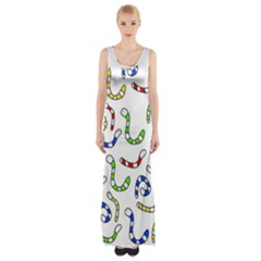 Colorful Worms  Maxi Thigh Split Dress by Valentinaart