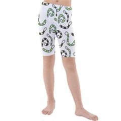 Green Worms Kid s Mid Length Swim Shorts by Valentinaart