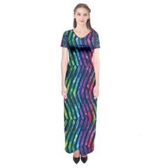 Colorful Lines Short Sleeve Maxi Dress by DanaeStudio