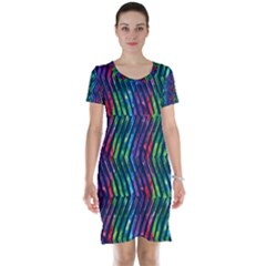 Colorful Lines Short Sleeve Nightdress by DanaeStudio