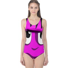 Halloween   Pink Frankenstein One Piece Swimsuit by Valentinaart