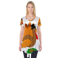 Thanksgiving Turkey   Transparent Short Sleeve Tunic  by Valentinaart