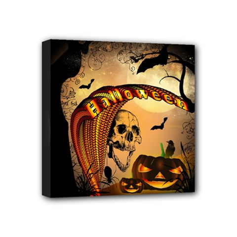 Halloween, Funny Pumpkin With Skull And Spider In The Night Mini Canvas 4  X 4  by FantasyWorld7